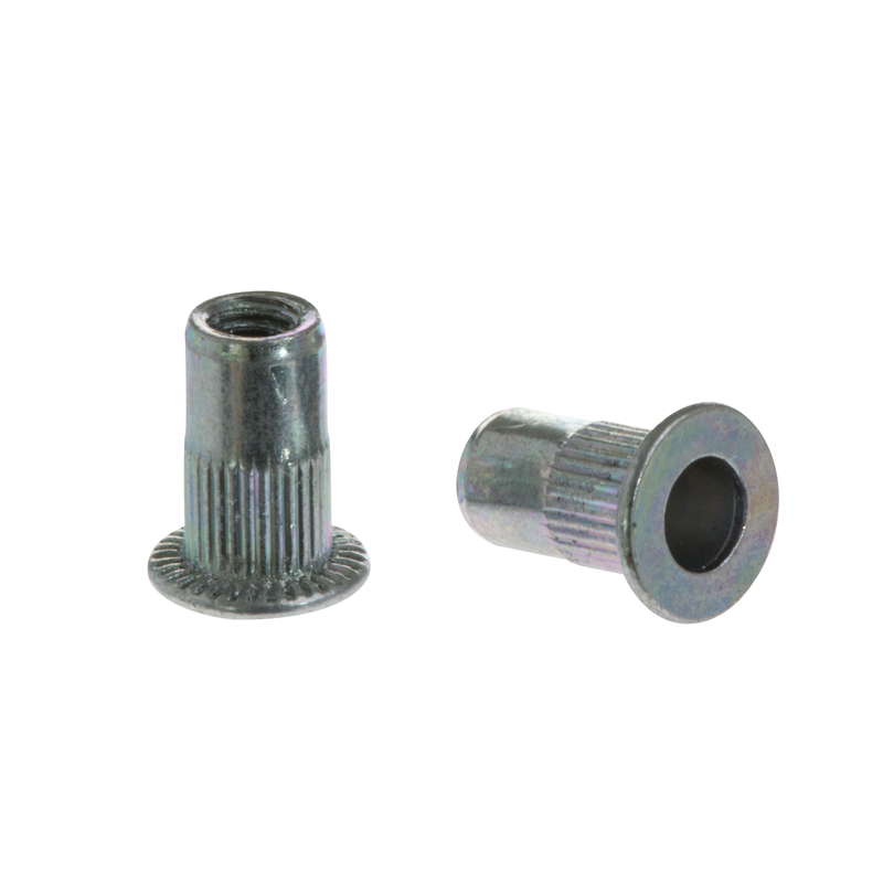 Knurled Rivet Nut FTT steel cylindrical with flat head
