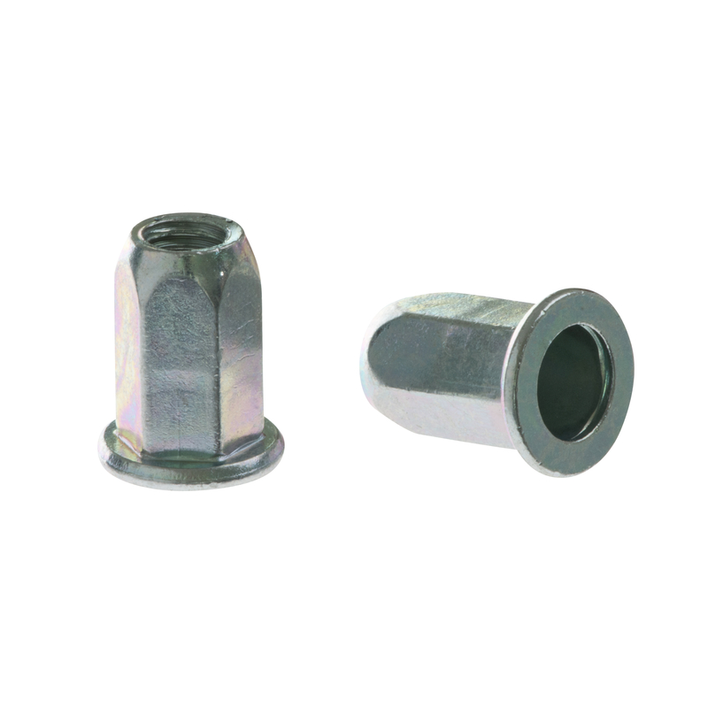 Blind Rivet Nut FTTE steel Hexagon with flat head